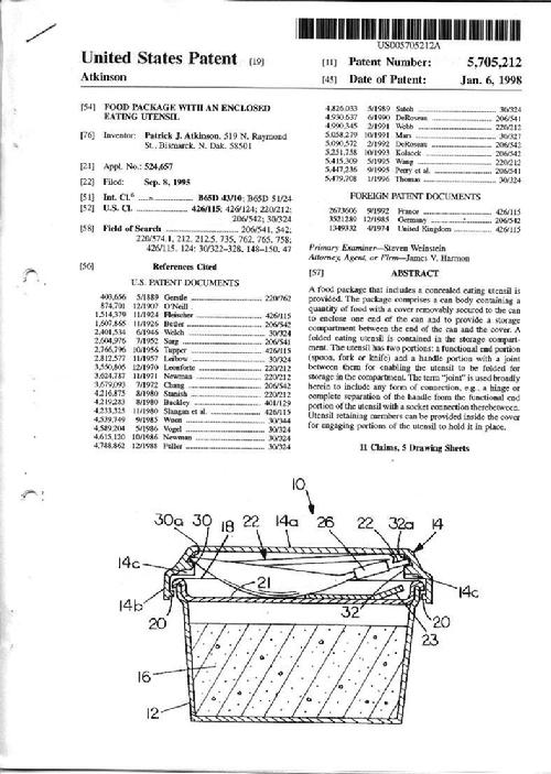 Utensil Enclosed Within A Lid Patent